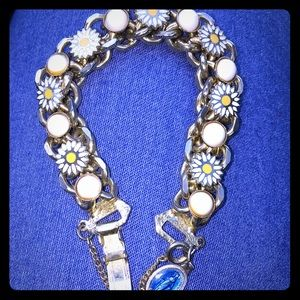 Vintage Czech Sunflower Crystal Flower Bracelet